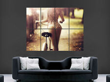 SEXY GIRL HOT PUSH BIKE  ART WALL PICTURE POSTER  GIANT HUGE