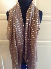 Ladies Women's Designer Scarf Wrap  Brown With Gold Spots