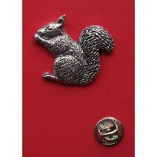 English Pewter SQUIRREL animal Pin Badge Tie Pin / Lapel Badge (XTSBPA35)