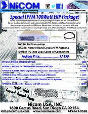 NICOM LPFM LOW POWER FM PACKAGE 100W ERP FCC CERTIFIED FOR FM BROADCAST