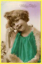 cpa FANTAISIE RÉTRO ANNÉE 20 PORTRAIT JEUNE FILLE FILLETTE FANTASY LITTLE GIRL