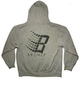 Rare 2013 Bronze 56K Hoodie Sample B Logo Windows Size Large Grey Skate Supreme