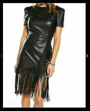 New Ladies Black Fringed Leather Dress by VERY size 8 RRP £129.99
