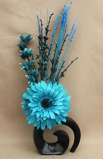 Artificiali di seta blu cielo GERBERA and Teal fiori in nero FOSSIL CERAMICA VASO