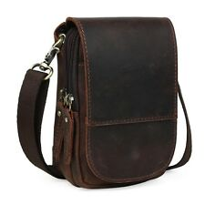 Vintage Genuine Leather Mens Small Messenger Best Waist Pack Side Bag Brown