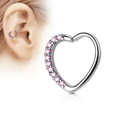 Silver 16 Gauge Heart  Ear Cartilage/Daith Hoop Ring with Pink Lined CZ Set