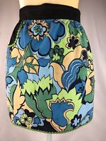 Vintage Half Apron, Green, Yellow, Tan, Black floral design