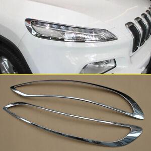 For Jeep Cherokee 2014-2018 Chrome Head Light Headlight Surrounds Cover