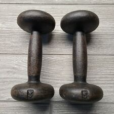 Vintage Bfco Pair of 5 Pound Bun Round Head Dumbbell Weights Cast Iron With Tags