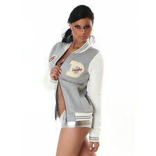 NEW SEXY FUNKY DIVA COLLEGE BASEBALL JACKET COAT 6 8 10  ❤ GREY ❤ GLOSSI