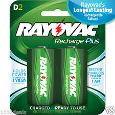 2 Pack Rayovac Recharge Plus D 3000mAh Rechargeable Batteries