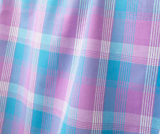 Plaid Cotton Fabric 2½ Yards. Pink Blue White Woven Madras Tartan DIY