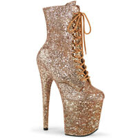 Pleaser FLAMINGO-1020GWR Rose Gold Glitter Platform Ankle/Mid-Calf Boots