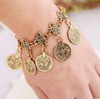 Women Turkish Jewelry Bohemian Ethnic Vintage Silver Coin Bracelet Chain