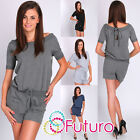 Ladies Sexy Playsuit Short Sleeve Boat Neck Party Jumpsuit Size 8-12 FT1099