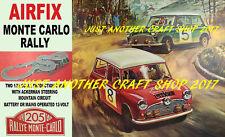 Airfix Mini Cooper Monte Carlo Rally Set Cartel Anuncio Letrero de ranura de coche racing 1967