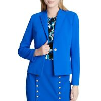 CALVIN KLEIN Women's Blue Crepe Office Wear One-button Blazer Jacket Top 0 TEDO
