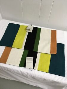 (2) West Elm Lumbar Pillow Cover Crewel 12 x 21 NWT Green Gold Teal Black Orange