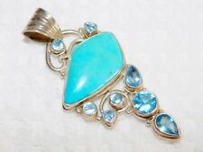 """Sterling Silver 925 Turquoise & Faceted London Blue Topaz Pendant 16 grams 2.5"""""""