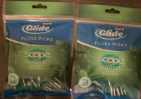 Oral B Glide Dental Floss Tooth Picks w/ Scope Outlast Mint 150ct., 2 Pack of 75