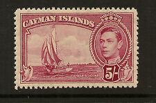 CAYMAN ISLANDS :1938 5/-carmine-lake SG125 mint