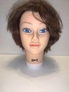 Celebrity Sam II  cosmetology Manikin head human hair, Brown ..Burmax
