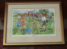32½x27½cm framed limited edition signed golfing print by Liz Hayward 2001
