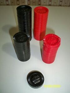 2 sets of 24 black & red checkers (48 total) + one think black one King?