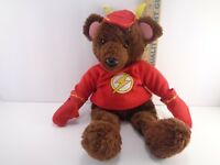 """Six Flags DC Comics The FLASH Brown Teddy Bear Vintage Flash Outfit Plush 12"""""""