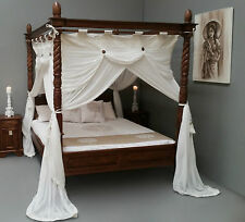 CANOPY Queen Size Deluxe Mosquito Net Cream for Four Poster Bed 155cmx205cm
