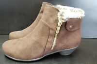 NEW KAREN SCOTT  FAUX BROWN SUEDE and fur ANKLE BOOTS Size 7 (NWOB)