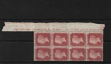 GB SG43, PLATE 106 MNH BLOCK OF 8 WITH PART MARGINAL INSCRIPTION