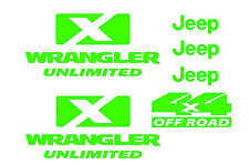 GREEN Jeep decals kit wrangler unlimited 4x4 offroad includes 6 stickers