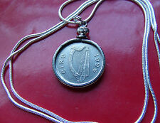 """1996 IRELAND COIN BEZEL PENDANT on a 24"""" White Gold Filled Chain"""