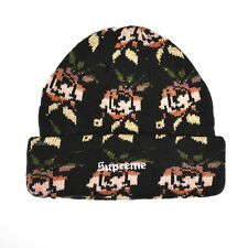 8d7f915fa4dad NWT Supreme NY Floral Rose Knit Logo Men s Beanie Hat Black FW18 DS  AUTHENTIC