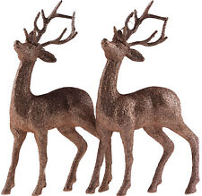 Set Of 2 Champagne Gold Glitter Reindeer Figures- Christmas Decoration Ornaments