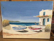 Oil Painting On Canvas Seascape Possibly Greece Signed A D Heath