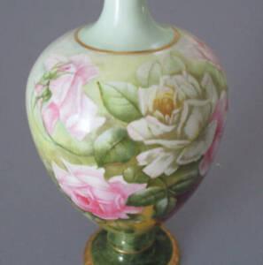 """Antique HP 14"""" Porcelain VASE White + PINK ROSES Lush GILT Trim BELLEEK Willets"""
