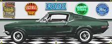 1968 FORD MUSTANG FASTBACK BULLITT MOVIE HIGHLAND GREEN BANNER SIGN ART 2' X 5'