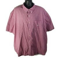 CHAPS Easy Care Mens Casual S/S Button Down Shirt Red Plaid - 4XB Big
