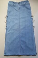 MA17  Women Denim Maxi Skirt Long Split Skirt Size 14 Tie Waist Skirt