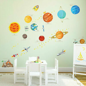 Solar System Wall Stickers Space Planets Bedroom Decor Kids Stars Rocket Decals