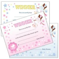 WINNER CERTIFICATES - Baby Shower Party Games Prize, 10/20 pack Pink Blue Unisex