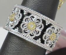NEW Judith Ripka Fleur Ring Band Silver Gold Diamonds 7 Flowers