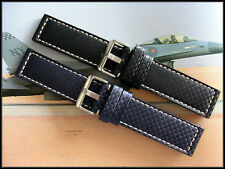 24mm XL Black Blue Pan Carbon Fiber Ballistic Military watchband strap IW SUISSE