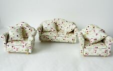 FLORAL IVORY LIVING ROOM SOFA AND ARMCHAIR FURNITURE SET 12th SCALE DOLLS HOUSE
