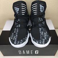 Brand New Adidas Dame 6 Damian Lillard Basketball Shoes FU6807 Black Size 8