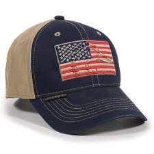Outdoor Cap Unisex-Adult American Flag Outdoors Cap, Navy/Khaki, Adult