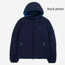 New Harmont & Blaine Quilted Down Biker Jacket, Detachable Hood in Blue Size XL