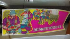 Vtg 1970 Del Monte Round UP Western Cowboy Grocery Store Ad Poster E 25 X 70